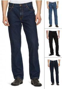 Wrangler-Texas-Jeans-Nuevos-De-Hombre-Regular-Fit-Negro-Azul-Darkstone-Stonewash-Denim