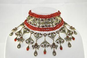 Heidi-Daus-Seductive-Fantasy-Choker-Dangle-Necklace-CARNELIAN-SWAROVSKI-RARE-PC