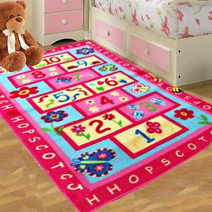 kids pink hopscotch girls bedroom floor rugs nurcery play 12847 | s l300