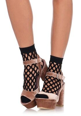 Leg Avenue Black Women/'s Fishnet Socks Quality Elastic Net Mesh Ankle pop socks
