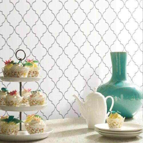 Quatrefoil Farmhouse White and Gray Modern Peel and Stick Backsplash Tile Diy