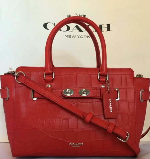 a8a9f7dd00 ... usa coach f55876 bright red blake carryall 25 croc embossed leather bag  650 nwt 6806c 3e148
