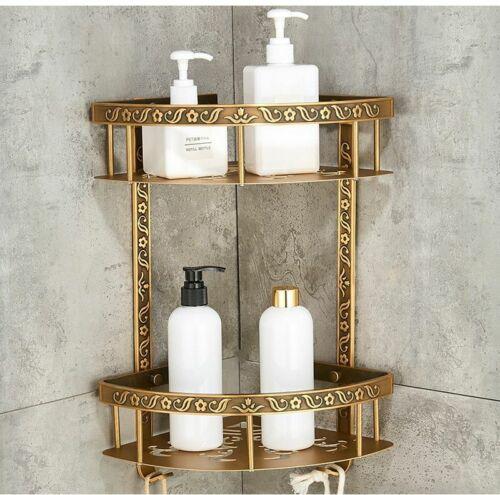 Bathroom 2 Layer Antique Metal Shelf Shower Corner Wall Mount Storage Shampoo
