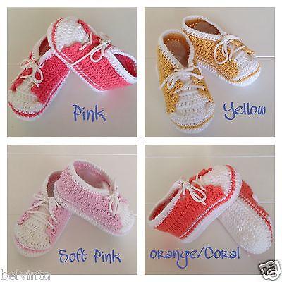 Baby Crochet Shoes Boys Girls Bear Handmade Woollen Knitted Booties 0-9 Months