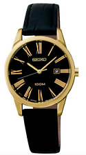 Seiko SXDG32 Quartz Black Dial Black Leather Strap Gold Tone Case Ladies Watch