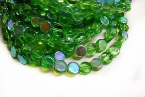 1 of 13 inch strand green Flat Round AB Color Glass Beads-2522