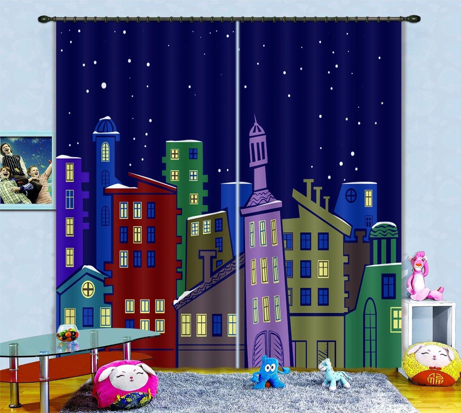 3D Star House 55 Cortinas de impresión de cortina de foto Blockout Tela Cortinas Ventana CA