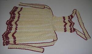 Vintage Kitchen Textiles Bib APRON Hand Crafted Crocheted Chevron Ecru/red