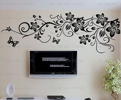 Huge Black Flower Vine Butterfly Wall Stickers Removable Art Decal Paper Mural