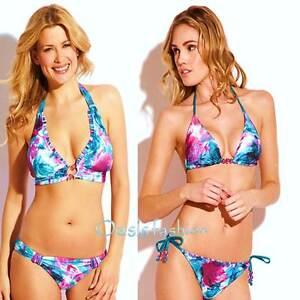 74b86ecf95 Image is loading Becca-Swimwear-Bikini-Multi-Floral-Foldover-Halter-String-
