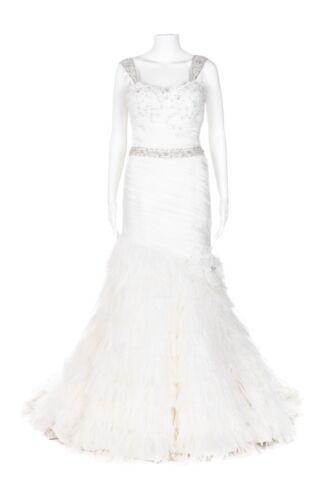 ALLURE BRIDALS Ivory Beaded Wedding Dress 6 Feathe