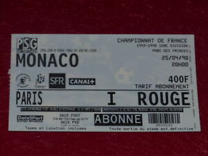 COLLECTION-SPORT-FOOTBALL-TICKET-PSG-MONACO-25-AVRIL-1998-Champ-France