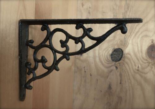 "2 BROWN ANTIQUE-STYLE 7/"" CAST IRON SHELF BRACKETS braces garden rustic CLASSIC"