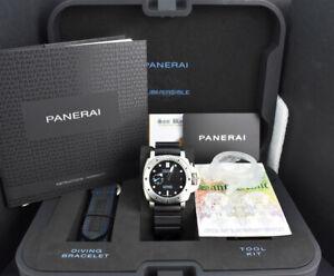 PANERAI-2020-42mm-Steel-Submersible-Black-Dial-BOX-amp-CARD-PAM00973-SANT-BLANC