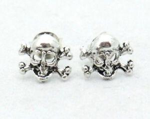 Ohrstecker-Skull-Totenkopf-Bones-Gothic-925-Sterling-Silber-Biker-Rocker-Neu