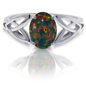 Australian-Black-Fire-Opal-Infinity-Celtic-Oval-Birthstone-Sterling-Silver-Ring