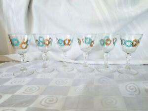 MCM-Aqua-Gold-Atomic-Starburst-Cocktail-Glasses-Turquoise-Retro-Stem-Mid-Century
