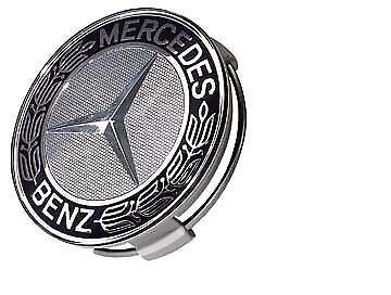 Genuine Mercedes lega ruota centro CAP SILVER /& BLACK Set di 4 nuovo con scatola