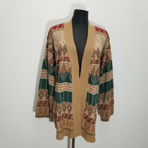 Vintage Catalina Jacquard Womens Cardigan L Wool H
