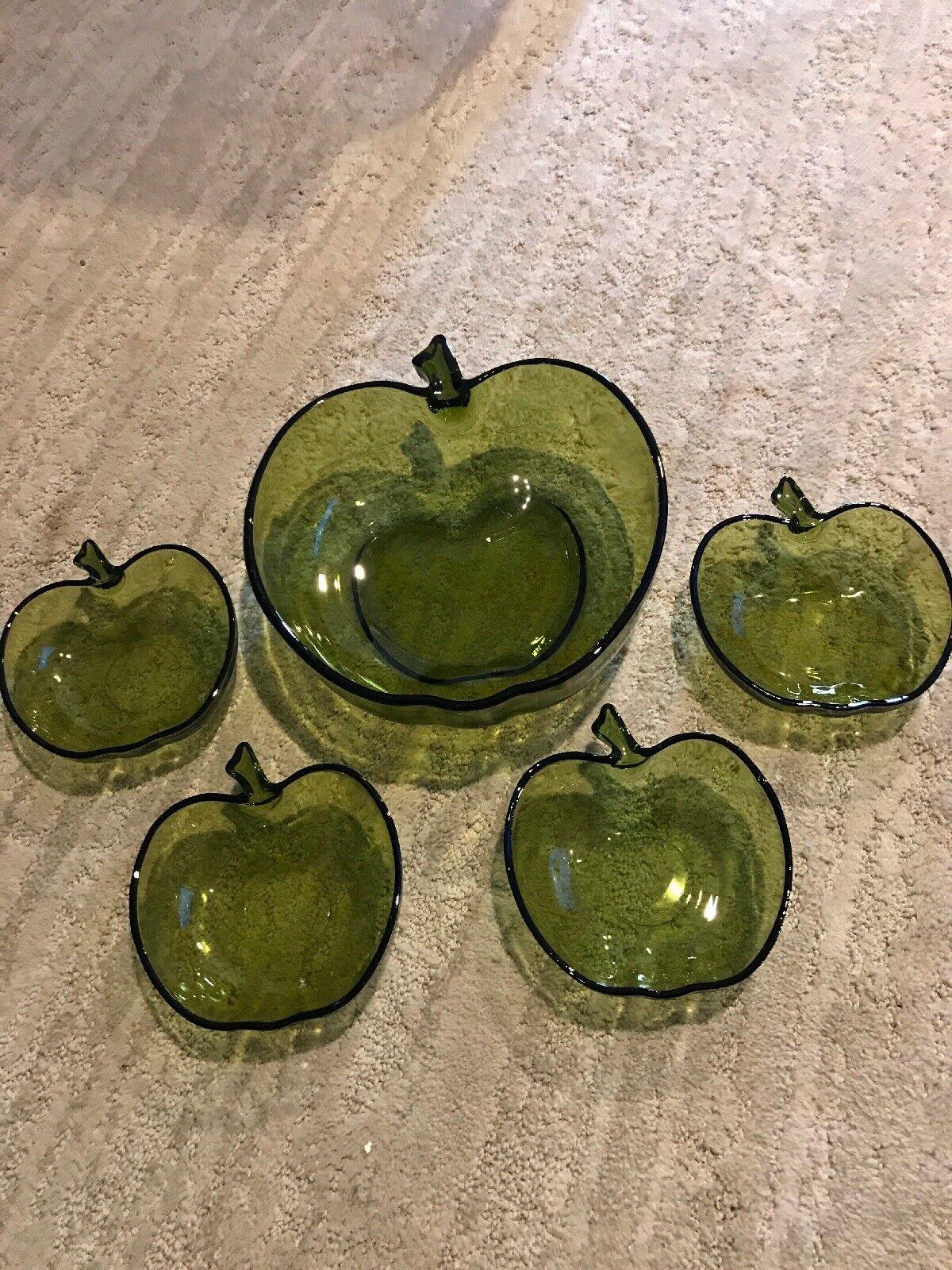 Hazel Atlas Green Apple Salad Serving Bowl With 4 Small Salad Bowls For Sale Online Ebay