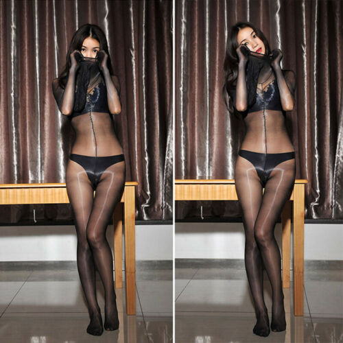 Women 1D Shiny Glossy Oil Stockings Bodysuit Thigh Highs Tights Shaping Bodyhose