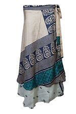 Indiatrendzs Women's Wrap Skirt Silk Sari Beige Reversible 2 layer Maxi Skirts