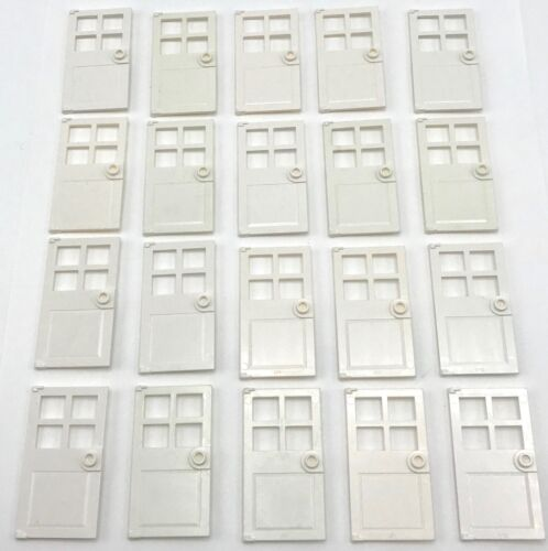 Lego 20 New White Door 1 x 4 x 6 w// 4 Panes Stud Handle No Frames City Town Home