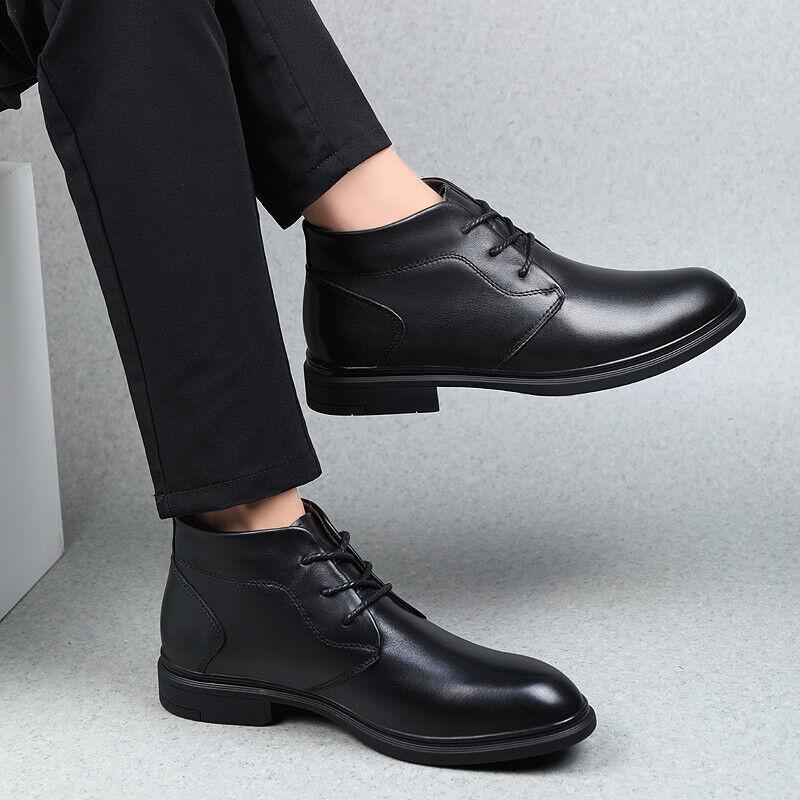 Herrenschuhe Ankle Stiefel Formell Schnürschuhe Kunstlederstiefeletten Abend 38-46