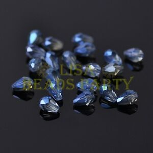 100pcs-5X3mm-Teardrop-Faceted-Crystal-Glass-Finding-Loose-Spacer-Beads-Eye-Blue