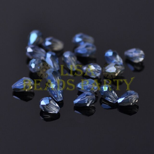 100pcs 5X3mm Teardrop Faceted Crystal Glass Finding Loose Spacer Beads Eye Blue