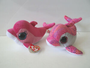 0affafa8293 2 TY BEANIE BOOS SURF MWMT   SPARKLES Pink Whales Dolphins 6 ...