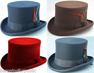 Nuovo Uomo Donna Unisex King Ghiaccio 100% Lana Qualità Hand Made Top Hat Taglia S M X-l- Ritardare La Senilità