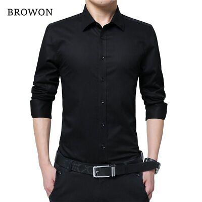 colección de descuento elige genuino Super descuento Camisa de manga larga Slim Fit para hombre Camisas de moda casual Ropa  Nuevo   eBay