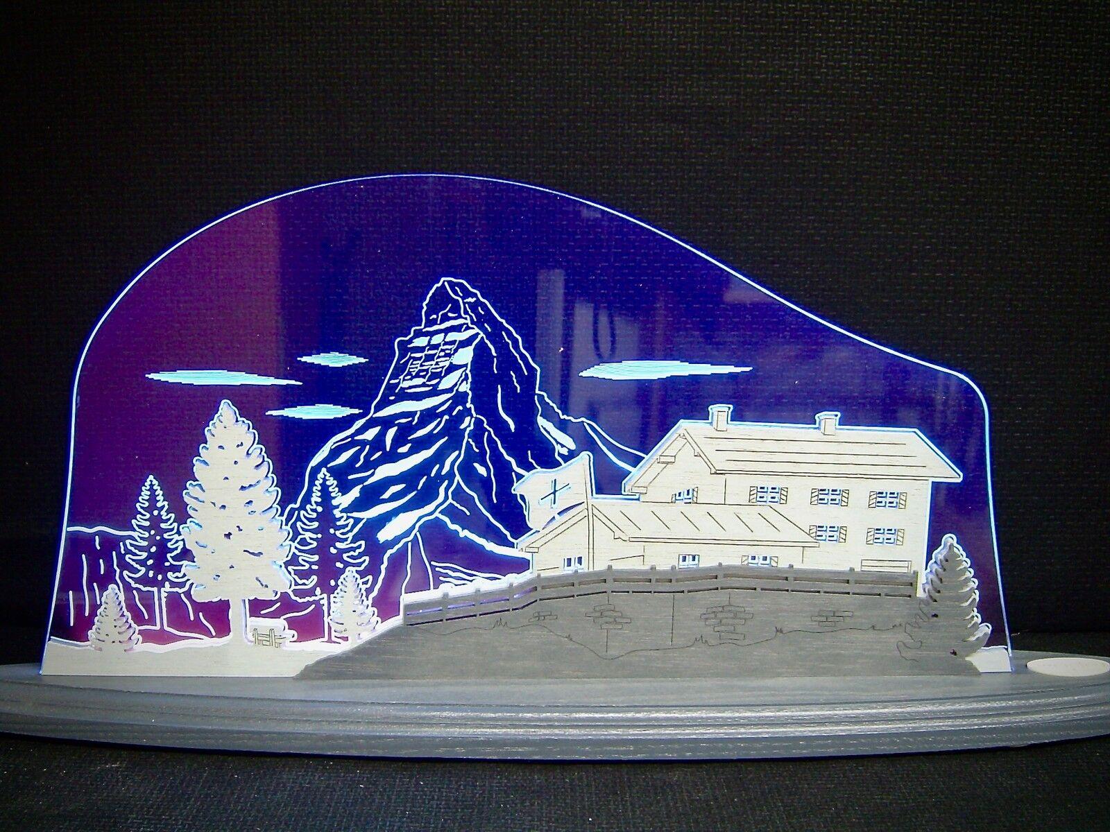 3d Lumières DEL Arc Plexiglas Schwibbogen avec bois Matterhorn 47x21 cm 10701
