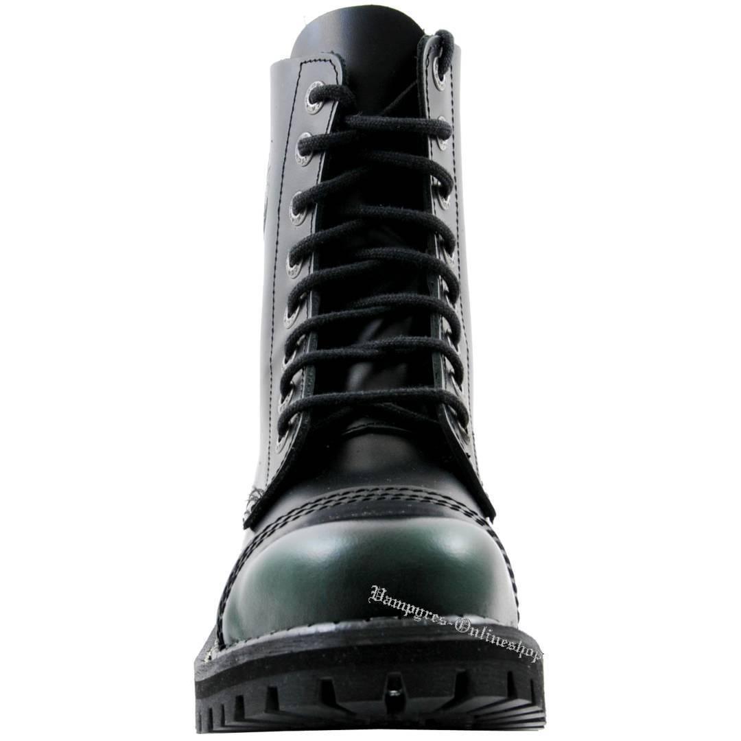 Angry Angry Angry Itch 8-Trou Dark vert Rub-Off Vert Noir Ranger Bottes Acier bouchons NEUF b528f3