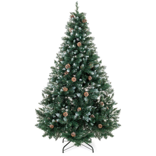 Bcp 6ft Artificial Hinged Christmas Tree W Snow Flocked Tips Pine Cones Stand