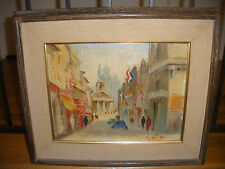 VINTAGE FRENCH PARIS STREET SCENE IMPRESSIONIST OIL PAINTING ILLEGIBLY SIGNED