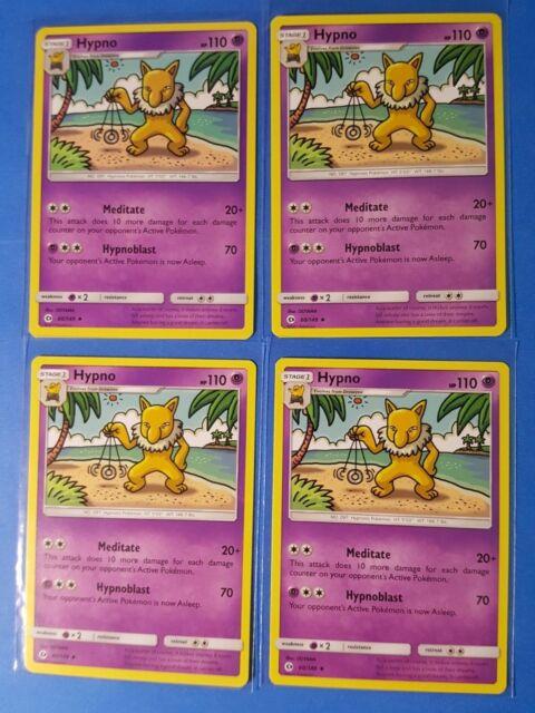 4x Hypno 60/149 Pokemon TCG card Sun & Moon base set uncommon NM