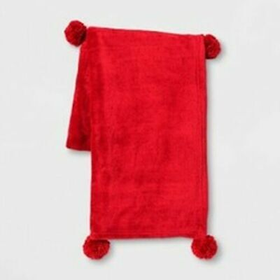 Solid Plush With Poms Throw Blanket Room Essentials™red