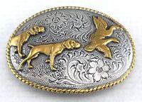Hunting Dog Birds Belt Buckle Western Cowboy Rope Edged Engraved Gold Silver