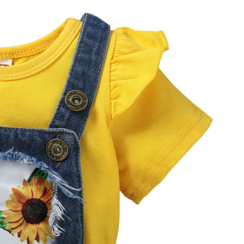 Toddler Baby Kids Girl T-Shirt Tops Jeans Denim Shorts Dungarees Clothes Outfits