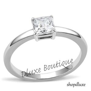 Women-039-s-Princess-Cut-CZ-Solitaire-Stainless-Steel-Engagement-Ring-Size-5-10