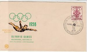 Australia 1956 Olympic Games Diver Main Stadium Cancel FDC Stamps Cover ref22054