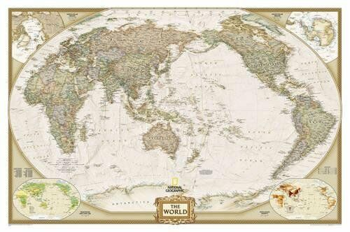 Pacific Centered World Executive laminated Wall Maps-9781597751186 NG-104