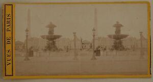 Parigi-Place-Da-La-Concorde-Francia-Foto-Stereo-L44-Vintage-Albumina-c1870