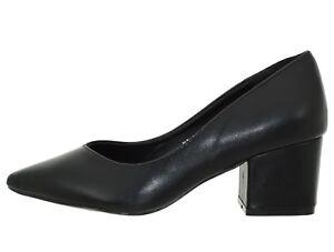 sito affidabile 8fe91 b36d2 Dettagli su Scarpe donna Decolletè nere tacco basso decolte eleganti a  punta senza plateau