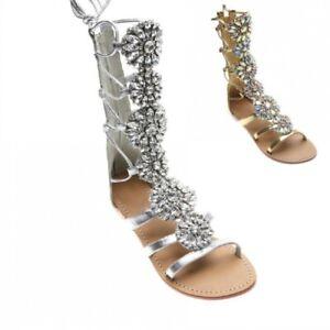 UK 2.5-10 Women/'s Roman Gladiator Rhinestones Flat Strappy Sandals Sz
