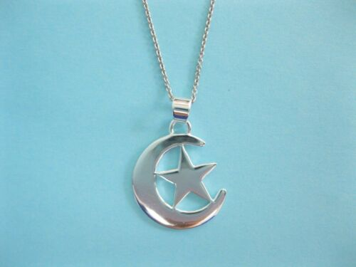 """Sterling Silver Star And Moon Best Friend Charm Necklace 23mmx18mm 18/"""""""