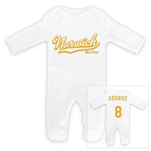 NORWICH CITY Football Personalised Baby Sleep Suit