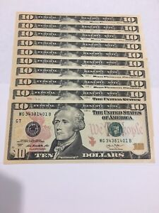 10-10-dollar-bills-Total-100-2013-uncirculated-us-currency